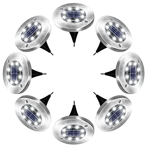 Solar Lights Outdoor, 8 LED Solar Garden Lights,...