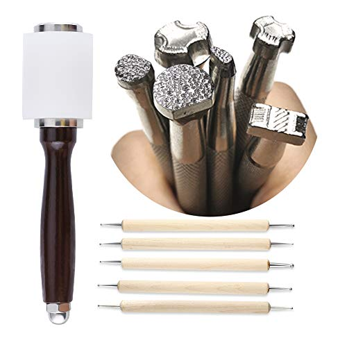 UOOU Leather Stamp Tools, Leather Carving Set, Leather Kit with Leather Carving Hammer, Stamp Punch Set and Tracing Pen, Leather Carving Working Saddle Making Tools for Leather Craft DIY