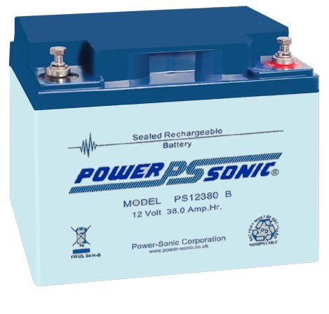 Bleiakku - Akku Powersonic PS 12380 - Powersonic PS12380 - Powersonic PS-12380 mit VDs Zulassung - 12V 38,0Ah - Rechargeable Sealed Lead Acid (SLA) Battery - AGM/Blei Vlies