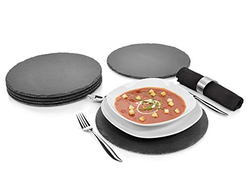 Sänger Schieferplatten Set 6 teilig | Durchmesser 30 cm | Mit 3 Füßen aus Moosgummi zum Schutz Ihrer Oberflächen | Perfektes Servieren Ihrer Speisen