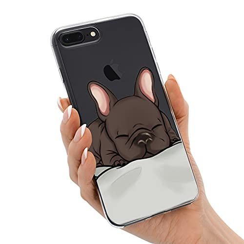 French Bulldog Phone Case Compatible with iPhone 7 Plus/8 Plus,Soft TPU Silicone Slim Transparent Protective Case for iPhone 7 Plus/8 Plus,Gift for Women Girls