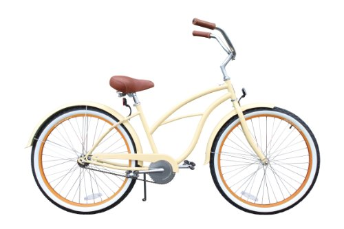 sixthreezero Women's Single Speed Beach Cruiser Bicycle, Scholar Cream w/Brown Seat/Grips, 26' Wheels/17 Frame