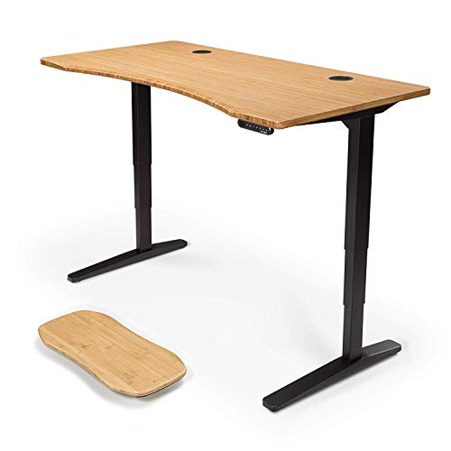 UPLIFT Desk V2 Bamboo Standing Desk with 1' Thick Carbonized Bamboo Curve Desktop, Height Adjustable...