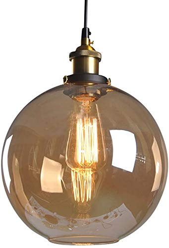 Huahan Haituo Pendelleuchte Light Vintage industriellen Metall-Finish Klarglas Glaskugel Runde Schatten Loft Pendelleuchte Lampe Retro Decke Licht Vintage Lamp(Bernstein,20CM)