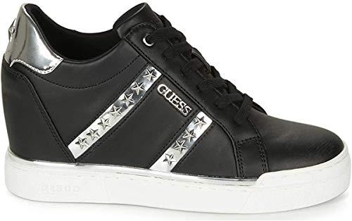 Guess Scarpe Donna Sneaker Alto Modello Fayne in Ecopelle Nero/Silver DS20GU15