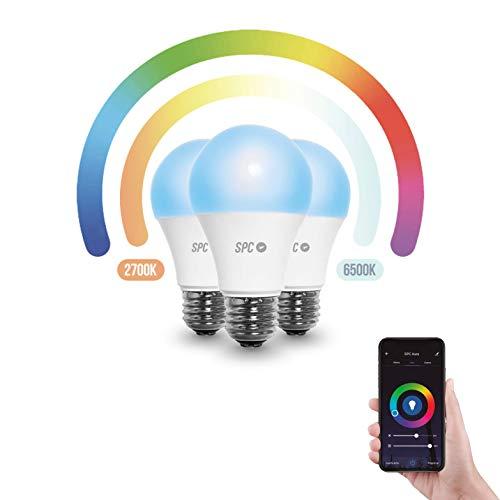 SPC Aura 1050: LED-Leuchtmittel Wi-Fi E27, 10 W, 1050 lm 3 Leuchtmittel Standard Regulierbar