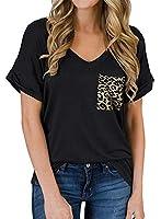 Dzhtswd Tシャツの女性、2021春と夏のVネックポケットTシャツヨーロッパとアメリカのカールの半袖緩いトップ (Color : H, Size : XXL)