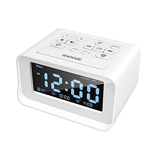 Radio despertador con doble alarma, despertador digital con 2 puertos de carga USB, 0-100 % regulable, temporizador de sueño...