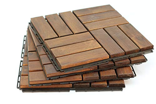 Acacia Teak Wood Flooring Floor Tile - Great Backyard Decor to Update Your Look! Replace That Vinyl Flooring or a Great Way To Cover That Old Decking or Paver Floors. 10 SQ/FT Per Box. 12' x 12' Tiles
