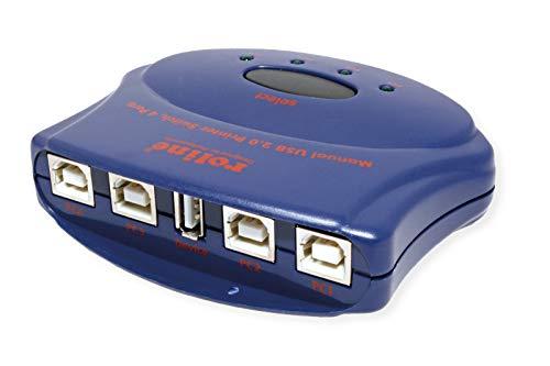 Rotronic handmatige USB 2.0 Switch HUB USB 4P 4 x USB-A/stopcontact 1 x USB-B/bus blauw