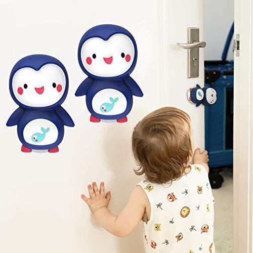 Baby Finger Pinch Guard Baby Door Stopper Safety Cute Penguin Doorstop Slam Stopper for Prevent Kids and Pet Finger Injuries, Door Slams, Getting Locked(4pieces)
