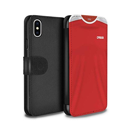 Stuff4 PU-Leder Hülle/Case/Tasche/Cover für Apple iPhone XS/Serbien/Serbisch Muster/Weltmeisterschaft 2018 Fußball Trikot Kollektion