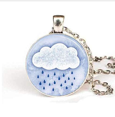 Collana con ciondolo a forma di nuvola di pioggia, in stile vintage, per le docce, per donne e uomini
