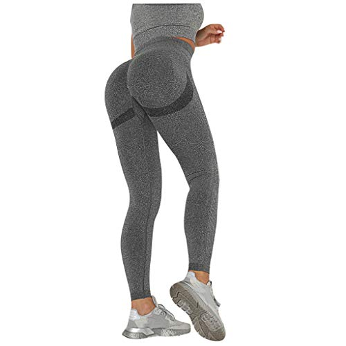 Kuksoa Moda Mujer Color SóLido Sexy Deportes Y Fitness Pantalones De Yoga Premium Slim Cadera LevantadaType J (Gris Oscuro, L)