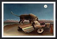 絵画風 壁紙ポスター (はがせるシール式) アンリ・ルソー 眠るジプシー女 1897年 ニューヨーク近代美術館 【額縁印刷/トリックアート】 キャラクロ K-RSU-001SGF1 (850mm×585mm) 建築用壁紙+耐候性塗料