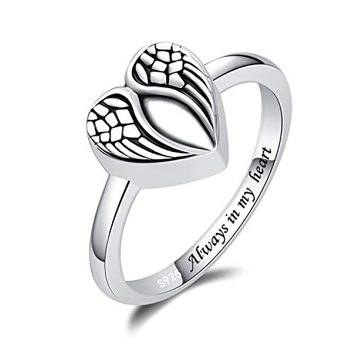 BEILIN Sterling Silver Urn Ring for Ashes Keepsake Memorial Loved Ones Jewelry Cremation Rings (Angel Wings Urn Ring, 7)
