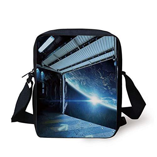 FFLISHD Outer Space Decor,Interstellar Airlock Shuttle Runway Gate Journey to Stars Invasion View,Blue Gray Print Kids Crossbody Messenger Bag Purse