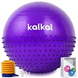 Kalkal Exercise Ball , 65cm Upgraded Anti Slip Yoga Ball with Massage Point Fitness Ball Chair for Birthing,Pilates,Yoga Stability Balance, Quick Pump Included (Purple)