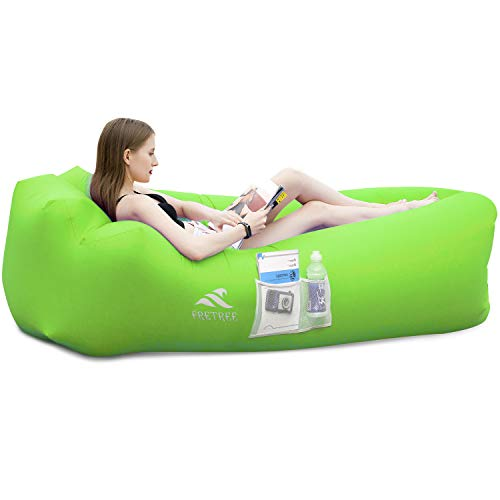 FRETREE Inflatable Lounger Air Sofa Hammock - Portable Anti-Air Leaking & Waterproof Pouch Couch and Beach Chair Camping Accessories for Parties, Travel, Camping, Picnics, Pool,Green