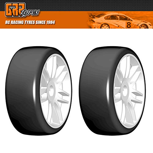 GRP GTJ02-S7 1:8 GT T02 Slick S7 MediumHard Belted Tire w/White Wheel (2)