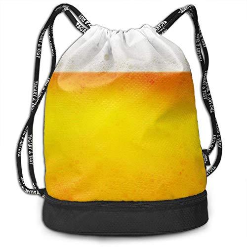 XCNGG Mochila con cordón de Burbuja de Cerveza Amarilla Bolsas de Cuerda Resistentes al Agua Bolsa de Fitness Personalizada Ligera Adecuada para Adultos, jóvenes, natación, Viajes, Playa
