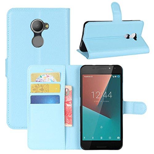 HualuBro Vodafone Smart N8 Hülle, [All Aro& Schutz] Premium PU Leder Leather Wallet HandyHülle Tasche Schutzhülle Hülle Flip Cover für Vodafone Smart N8 5.0 Inch Smartphone (Blau)