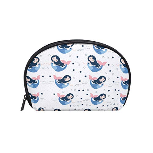 Cosmetic Bag with Zipper Cute Mermaid Star Clutch Travel Storage Bag Organizer Case for Women Makeup Pouch Bag