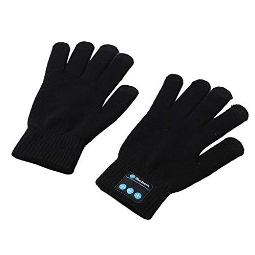 Colorful Touchscreen Bluetooth Knit Handschuhe Winter Handschuhe eingebaute Lautsprecher & Mikrofon Hands-Free Call für Smartphone, Weihnachten Geschenke für Männer Frauen (Schwarz)