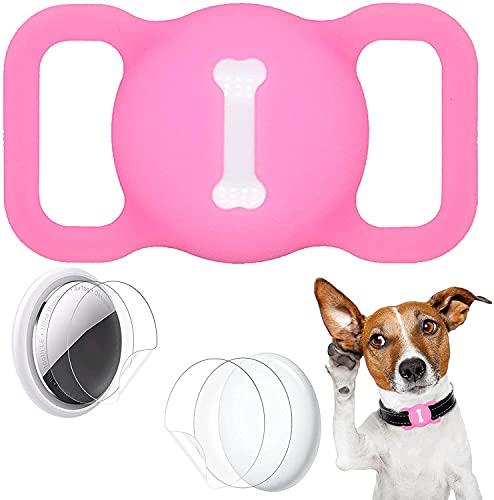 Aukvite Pet Airtag Collare Protector per Accessori per Collare per Cani e Gatti Airtag GPS Finder, con 4 Sets di Pellicole Protettive (Rosso)