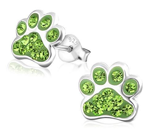 Laimons Kids Pendientes para niña Huella de perro Verde Claro Brillante Plata de ley 925