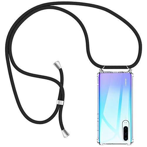 AODOOR Handykette kompatibel mit Huawei P30, Hülle Huawei P30 Handyhülle mit Kordel Umhänge Band Silikon Schutzhülle mit Band, Halsband Hülle Handy-Kette Case mit Necklace Schnur für Huawei P30