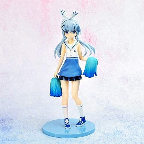 WXxiaowu Wandelen Chuumon Wa Usagi Desuka?Handgemaakte Model Anime Character Kafuu Chino Cheerleader Blauw Wit Gymnastiek Pak Statische Desktop Model PVC Materiaal 23 cm Exquisite Collectie