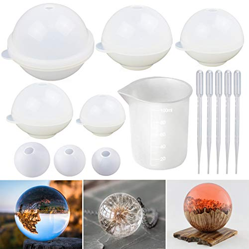 LETS RESIN Sphere Silicone Resin Molds, Round Silicone Molds, Epoxy Resin Ball Molds for Resin Jewelry, Soap Candle DIY, with Nonstick Silicone Mixing Cup