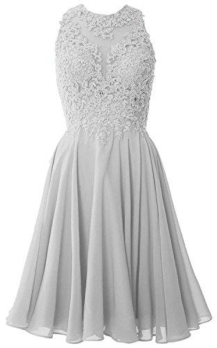 Beyonddress Damen Abendkleider Kurz Ballkleid Brautjungfernkleider Chiffon Cocktailkleid Partykleid(Silber,50)