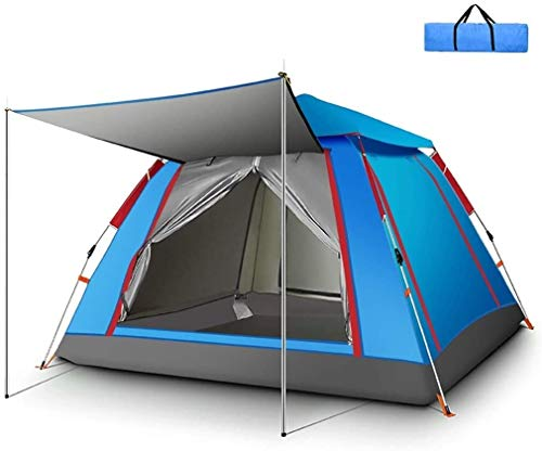 LAZ Tent 5 Doors and Windows,Compact Dome Tent,Pop Up Tents Automatic Opening Double Layer Tent,Waterproof Camping Tents with Porch for Hiking Camping Outdoor ( Color : Blue , Size : 215*215*142 cm )