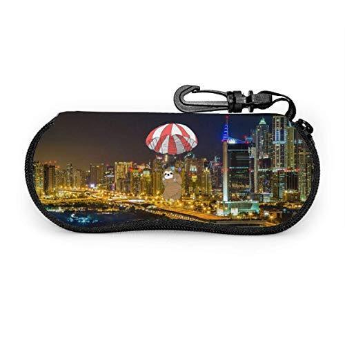 Gafas de sol portátiles Dubai City Night con hebilla de bloqueo Bolsa suave Funda de gafas con cremallera de tela ultra ligera para buceo