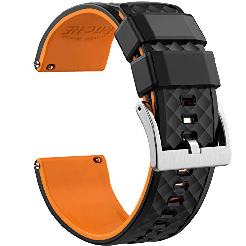 22mm Silicone Watch Bands Compatible with Samsung Gear S3 Classic Watch Quick Release Rubber Watch Bands for Men