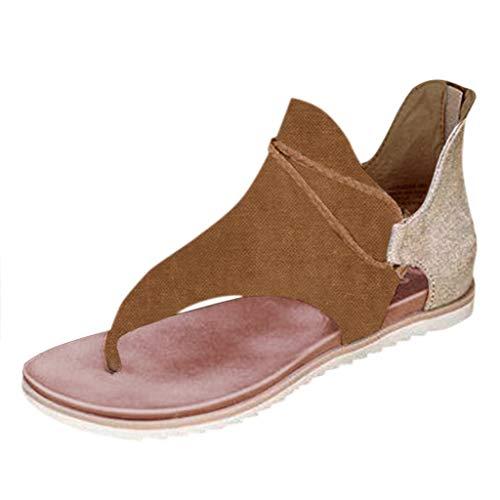 Julhold Sandaletten Sommerschuhe Flach Sandalette Damen Mode Zehenring Gladiator Sandalen Vintage Freizeit Riemchen Römersandalen Hausschuhe(Braun-1,36)