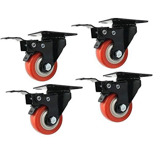 4 ruedas de ruedas de ruedas pesada PU de goma de la PU de la PU de las ruedas de ruedas de ruedas de ruedas de muebles de ruedas de ruedas giratorias giratorias con frenos plato superior, ruedas de t