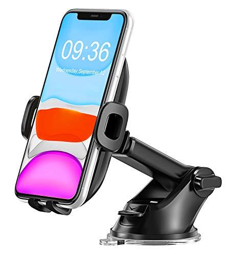Bovon Handyhalterung Auto, 360° Drehung Armaturenbrett KFZ Halterung mit Teleskoparm, Universal Handyhalter Auto mit EIN-Tasten-Freigabe und Starker Saugnapf für die Meisten Smartphone (Schwarz)