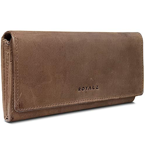 ROYALZ Leder Portemonnaie Damen Schwarz Groß RFID Schutz - Geldbörse mit Reißverschluss viele Fächer 11 Kartenfächer Brieftasche Querformat