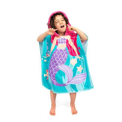 Florica Algodón Niños Niñas Encantador Ponchos Encapuchados baño Toalla de baño(Sirena) 🔥