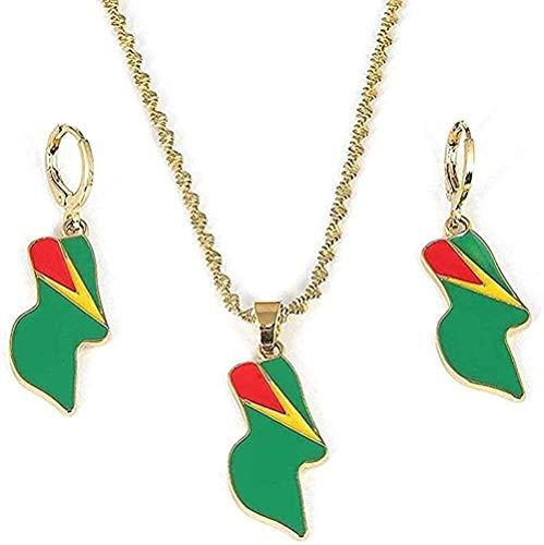 Aluyouqi Co.,ltd Collar para Mujeres Hombres Acero Inoxidable Bandera de Guyana Colgante Collar Pendientes República de Guyana Conjuntos de Joyas
