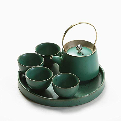 Apan Stoneware Travel Thee Set Volledige Set van Vier Kopjes met Thee Lade Japanse Stijl Hand-Lifting Theepot Theekopje, Groen Groen