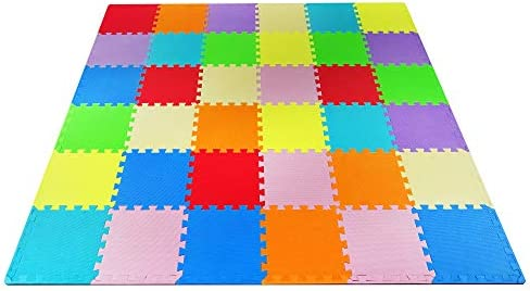 Yes4All Foam Puzzle Play Mat for Kids Baby Floor Mats Kids Play Mats 36 Tiles with Edges 9 Colors product image
