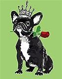 Pintura por Números DIY Pintura por números para Adultos y Niños (Perro con corona) con Pinceles y Pinturas Decoraciones para el Hogar Sin Marco, 40 x 50 cm