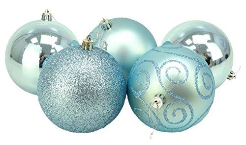 Christmas Concepts® 5er Pack - Extra große 100mm Christbaumkugeln - Glänzend, Matt & Glitterdekorierte Kugeln (Ice Blue)