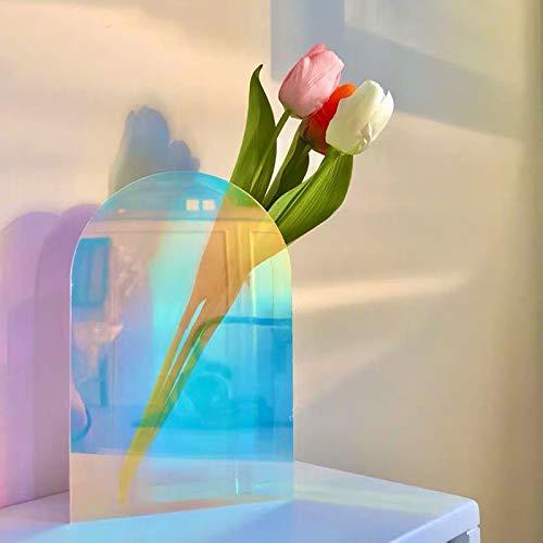 XKMY Home Decor Vaso Nordic Ins Vento Ornamenti Colorato Vaso Acrilico Arte Semplice Soggiorno FIower Arrangement Homestay Desktop Decorazione (Colore: Arco Colorato)