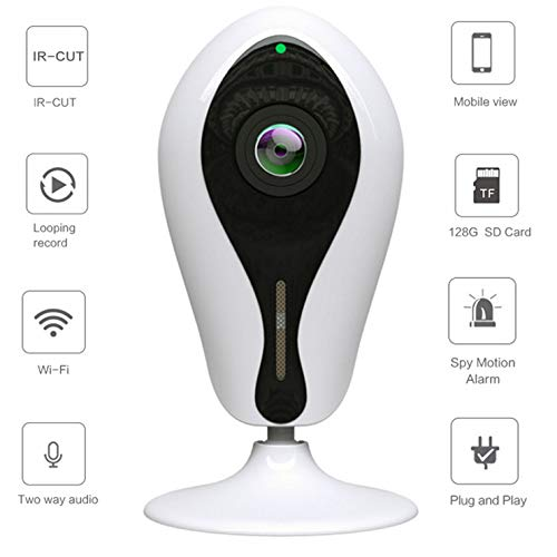 Mengen88 180 graden wifi-IP-camera, 2 miljoen HD veiligheidsbewaking, binnen met 2-weg audio-afstandsdetectie, bewegingsdetectie voor kinderen/dieren/oud