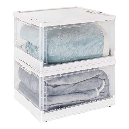 Yorbay Profi Klappbox Transportbox Aufbewahrungsbox mit Deckel, 2er Set, Faltbare durchsichtige Kunststoffbox mit Griffen, zur Aufbewahrung von Kleidung und Spielzeug, 47 x35 x 23 cm, 40L, weiß